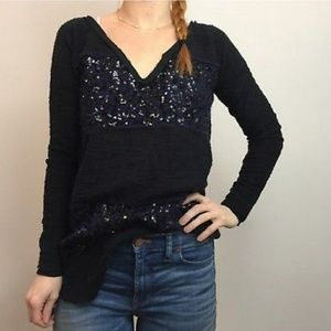 Free People Black Sequin V Neck Tunic Sweater